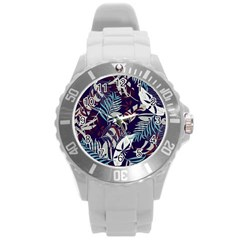 Fancy Tropical Floral Pattern Round Plastic Sport Watch (l) by tarastyle