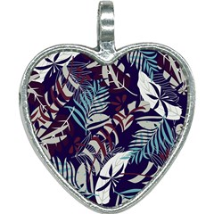 Fancy Tropical Floral Pattern Heart Necklace by tarastyle