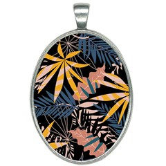 Fancy Tropical Floral Pattern Oval Necklace by tarastyle