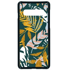Fancy Tropical Floral Pattern Samsung Galaxy S10 Seamless Case(black)