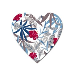 Fancy Tropical Floral Pattern Heart Magnet by tarastyle