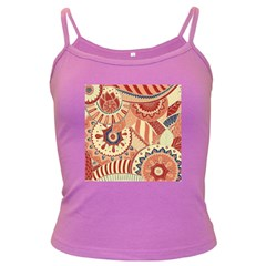 Pop Art Paisley Flowers Ornaments Multicolored 4 Dark Spaghetti Tank