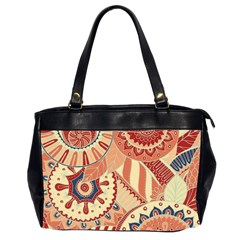 Pop Art Paisley Flowers Ornaments Multicolored 4 Oversize Office Handbag (2 Sides) by EDDArt