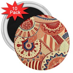 Pop Art Paisley Flowers Ornaments Multicolored 4 Background Solid Dark Red 3  Magnets (10 Pack)  by EDDArt