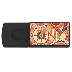 Pop Art Paisley Flowers Ornaments Multicolored 4 Background Solid Dark Red Rectangular Usb Flash Drive