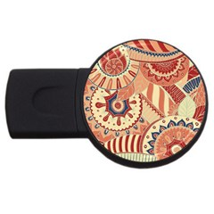 Pop Art Paisley Flowers Ornaments Multicolored 4 Background Solid Dark Red Usb Flash Drive Round (2 Gb)