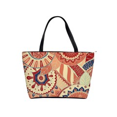 Pop Art Paisley Flowers Ornaments Multicolored 4 Background Solid Dark Red Classic Shoulder Handbag by EDDArt