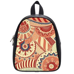 Pop Art Paisley Flowers Ornaments Multicolored 4 Background Solid Dark Red School Bag (small) by EDDArt