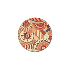 Pop Art Paisley Flowers Ornaments Multicolored 4 Background Solid Dark Red Golf Ball Marker (4 Pack)