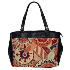 Pop Art Paisley Flowers Ornaments Multicolored 4 Background Solid Dark Red Oversize Office Handbag by EDDArt