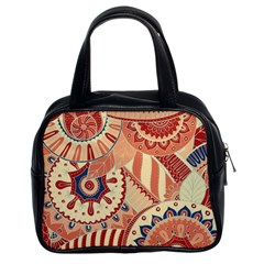 Pop Art Paisley Flowers Ornaments Multicolored 4 Background Solid Dark Red Classic Handbag (two Sides)