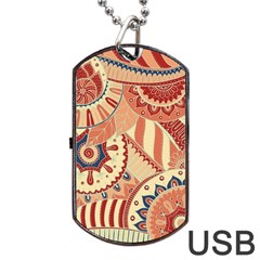 Pop Art Paisley Flowers Ornaments Multicolored 4 Background Solid Dark Red Dog Tag Usb Flash (one Side)