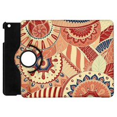 Pop Art Paisley Flowers Ornaments Multicolored 4 Background Solid Dark Red Apple Ipad Mini Flip 360 Case
