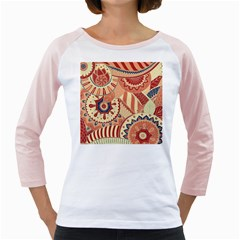 Pop Art Paisley Flowers Ornaments Multicolored 4 Background Solid Dark Red Girly Raglan