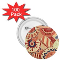 Pop Art Paisley Flowers Ornaments Multicolored 4 Background Solid Dark Red 1 75  Buttons (100 Pack)