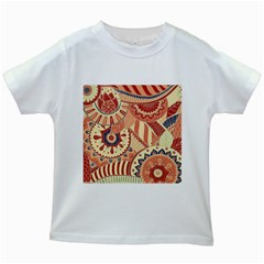Pop Art Paisley Flowers Ornaments Multicolored 4 Background Solid Dark Red Kids White T-shirts by EDDArt