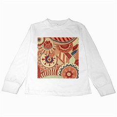 Pop Art Paisley Flowers Ornaments Multicolored 4 Background Solid Dark Red Kids Long Sleeve T-shirts by EDDArt
