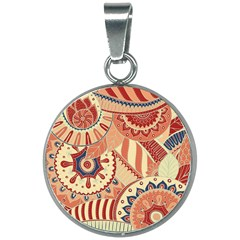 Pop Art Paisley Flowers Ornaments Multicolored 4 Background Solid Dark Red 20mm Round Necklace by EDDArt