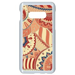 Pop Art Paisley Flowers Ornaments Multicolored 4 Background Solid Dark Red Samsung Galaxy S10e Seamless Case (white) by EDDArt