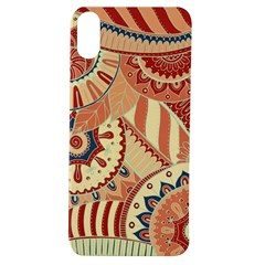 Pop Art Paisley Flowers Ornaments Multicolored 4 Background Solid Dark Red Apple Iphone Xs Tpu Uv Case