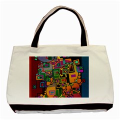 Modern Geometric Art   Dancing In The City Background Solid Dark Blue Basic Tote Bag (two Sides)