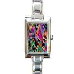 Multicolored Wave Distortion Zigzag Chevrons 2 Background Color Solid Black Rectangle Italian Charm Watch