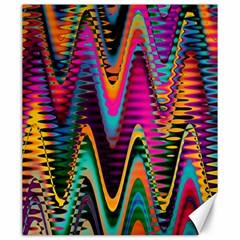 Multicolored Wave Distortion Zigzag Chevrons 2 Background Color Solid Black Canvas 20  X 24