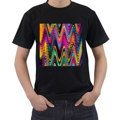 Multicolored Wave Distortion Zigzag Chevrons 2 Background Color Solid Black Men s T Shirt (black)
