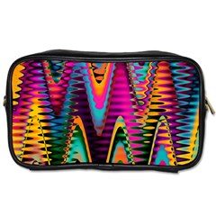 Multicolored Wave Distortion Zigzag Chevrons 2 Background Color Solid Black Toiletries Bag (one Side)