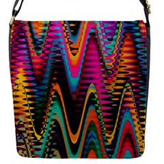 Multicolored Wave Distortion Zigzag Chevrons 2 Background Color Solid Black Flap Closure Messenger Bag (s)