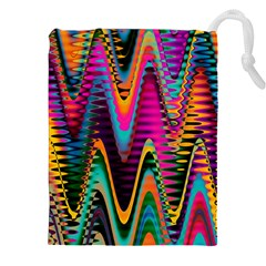 Multicolored Wave Distortion Zigzag Chevrons 2 Background Color Solid Black Drawstring Pouch (xxl) by EDDArt