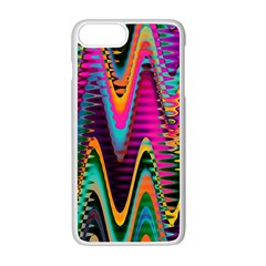 Multicolored Wave Distortion Zigzag Chevrons 2 Background Color Solid Black Iphone 7 Plus Seamless Case (white)
