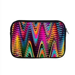 Multicolored Wave Distortion Zigzag Chevrons 2 Background Color Solid Black Apple Macbook Pro 15  Zipper Case by EDDArt