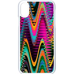 Multicolored Wave Distortion Zigzag Chevrons 2 Background Color Solid Black Iphone Xs Seamless Case (white) by EDDArt