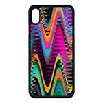 Multicolored Wave Distortion Zigzag Chevrons 2 Background Color Solid Black iPhone XS Max Seamless Case (Black) Front