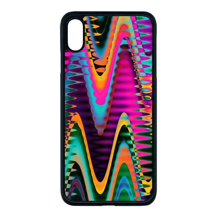 Multicolored Wave Distortion Zigzag Chevrons 2 Background Color Solid Black iPhone XS Max Seamless Case (Black)