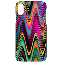 Multicolored Wave Distortion Zigzag Chevrons 2 Background Color Solid Black Iphone Xr Black Uv Print Case