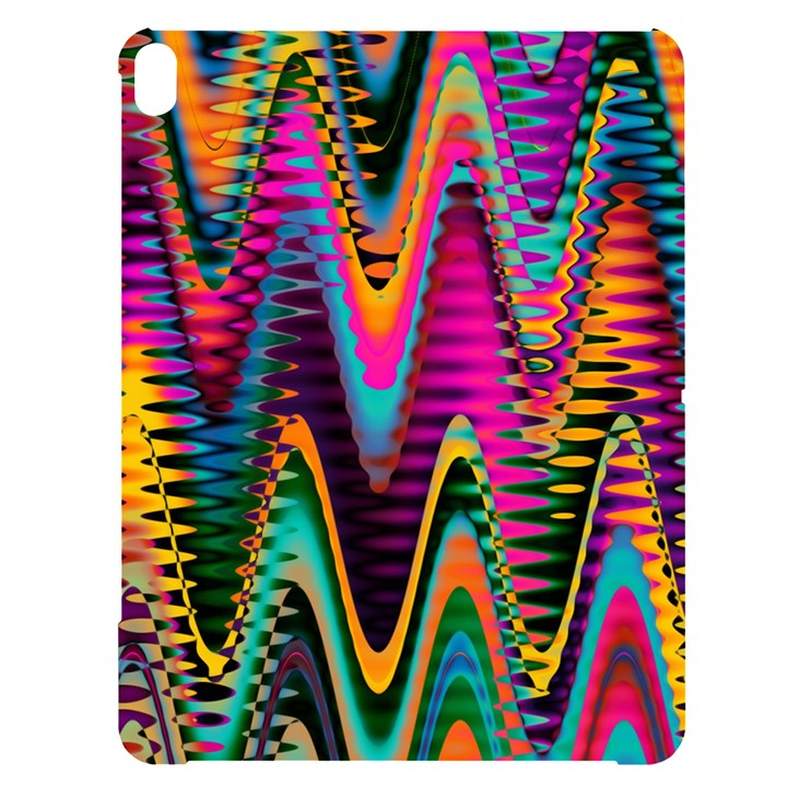 Multicolored Wave Distortion Zigzag Chevrons 2 Background Color Solid Black Apple iPad Pro 12.9   Black UV Print Case