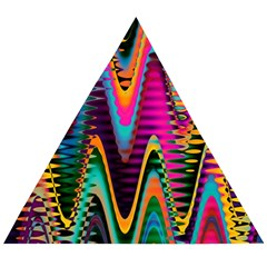 Multicolored Wave Distortion Zigzag Chevrons 2 Background Color Solid Black Wooden Puzzle Triangle