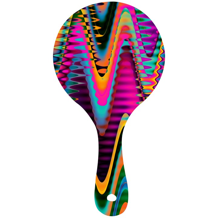 Multicolored Wave Distortion Zigzag Chevrons 2 Background Color Solid Black Mini Wooden Mirror