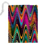 Multicolored Wave Distortion Zigzag Chevrons 2 Background Color Solid Black Drawstring Pouch (XXXL) Back