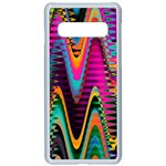 Multicolored Wave Distortion Zigzag Chevrons 2 Background Color Solid Black Samsung Galaxy S10 Seamless Case(White) Front