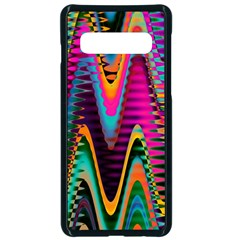 Multicolored Wave Distortion Zigzag Chevrons 2 Background Color Solid Black Samsung Galaxy S10 Seamless Case(black)