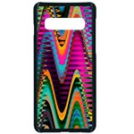 Multicolored Wave Distortion Zigzag Chevrons 2 Background Color Solid Black Samsung Galaxy S10 Seamless Case(Black) Front