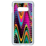 Multicolored Wave Distortion Zigzag Chevrons 2 Background Color Solid Black Samsung Galaxy S10e Seamless Case (White) Front