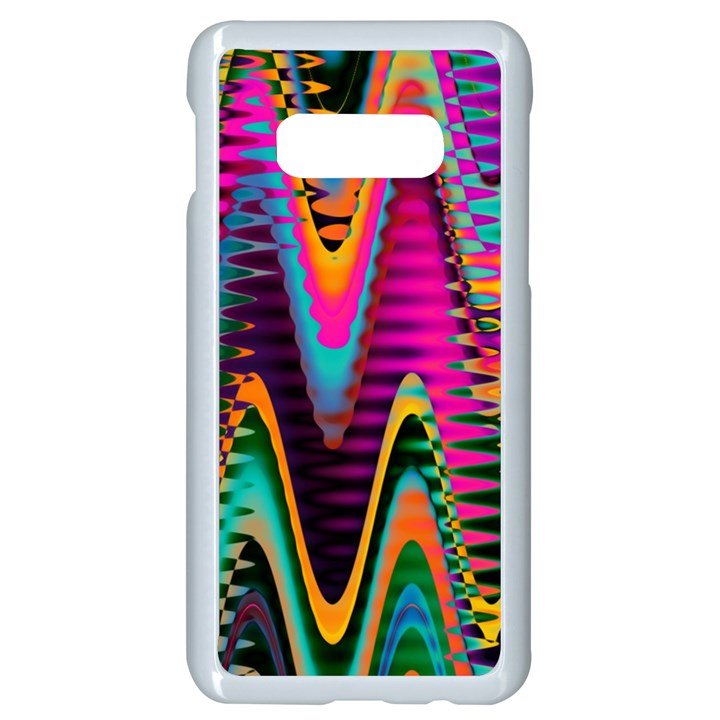 Multicolored Wave Distortion Zigzag Chevrons 2 Background Color Solid Black Samsung Galaxy S10e Seamless Case (White)