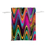Multicolored Wave Distortion Zigzag Chevrons 2 Background Color Solid Black Lightweight Drawstring Pouch (M) Back