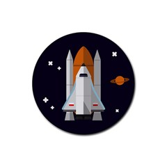 Rocket Space Universe Spaceship Rubber Coaster (round)
