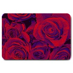 Roses Red Purple Flowers Pretty Large Doormat  by Pakrebo