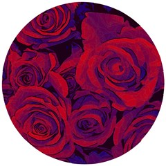 Roses Red Purple Flowers Pretty Wooden Puzzle Round by Pakrebo